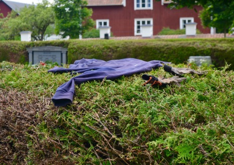 gardener's lost clothing in the church yard
