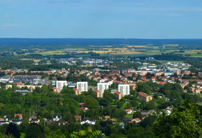 View of Skövde from the top tall hill in a beautiful church built in the 70's.