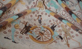 Life to Death mural on ceiling at Härkeberga Church